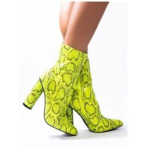 Neon Yellow Snakeskin Chunky Heel Booties